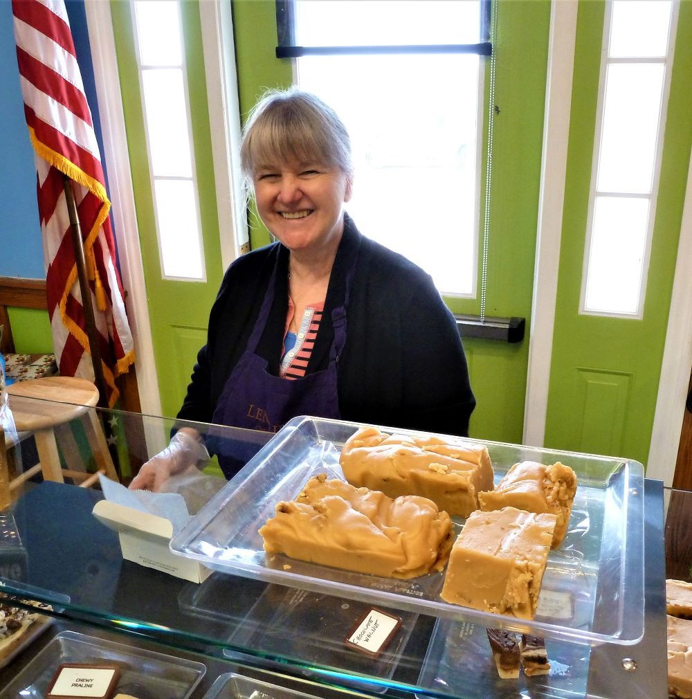 Serving homemade fudge at Len Libby Candies in Scarborough, Maine.