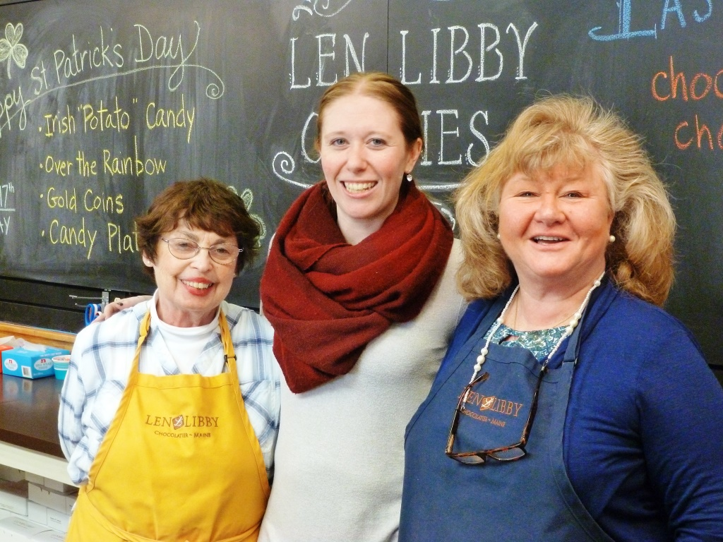 Working the front counter at Len Libby Candies in Scarborough, Maine.