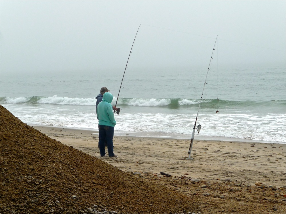 Fishing on a cooler day at South Shore Beach in Little Compton, Rhode Island.