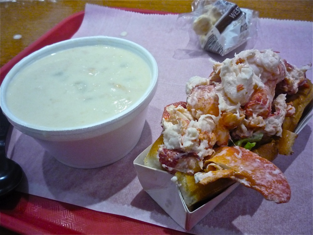 New England clam chowder and lobster roll from the Lobster Pot in Wareham, Massachusetts