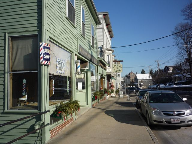 Barber Shop and other downtown businesses, North Easton Village, MA