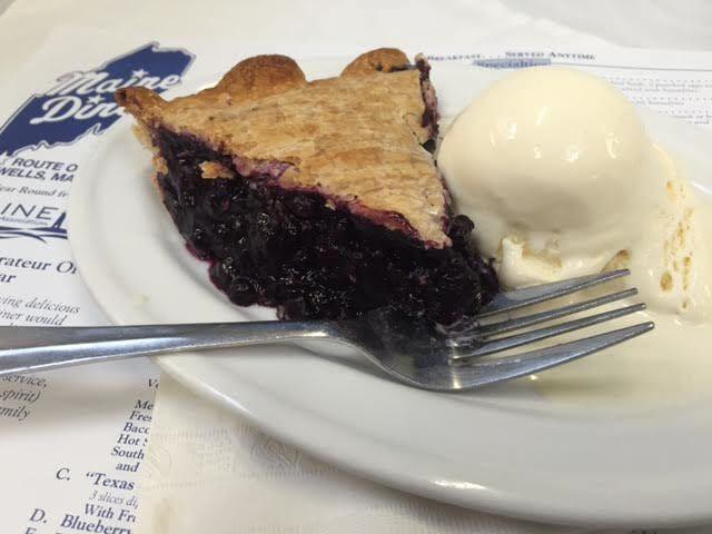 Maine Diner blueberry pie, Wells, Maine. Photo source: Maine Diner Facebook page.