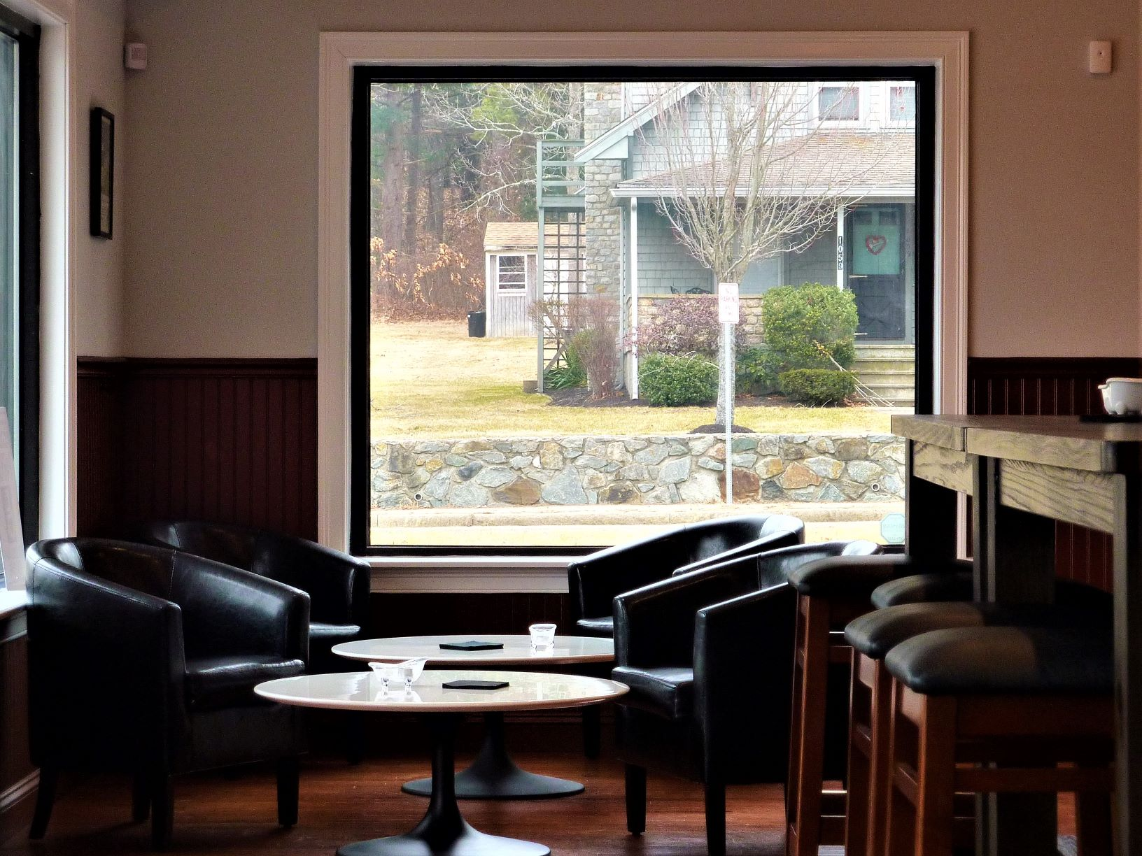 An inviting dining room section at Millis Clicquot Coffee in Millis, Mass.