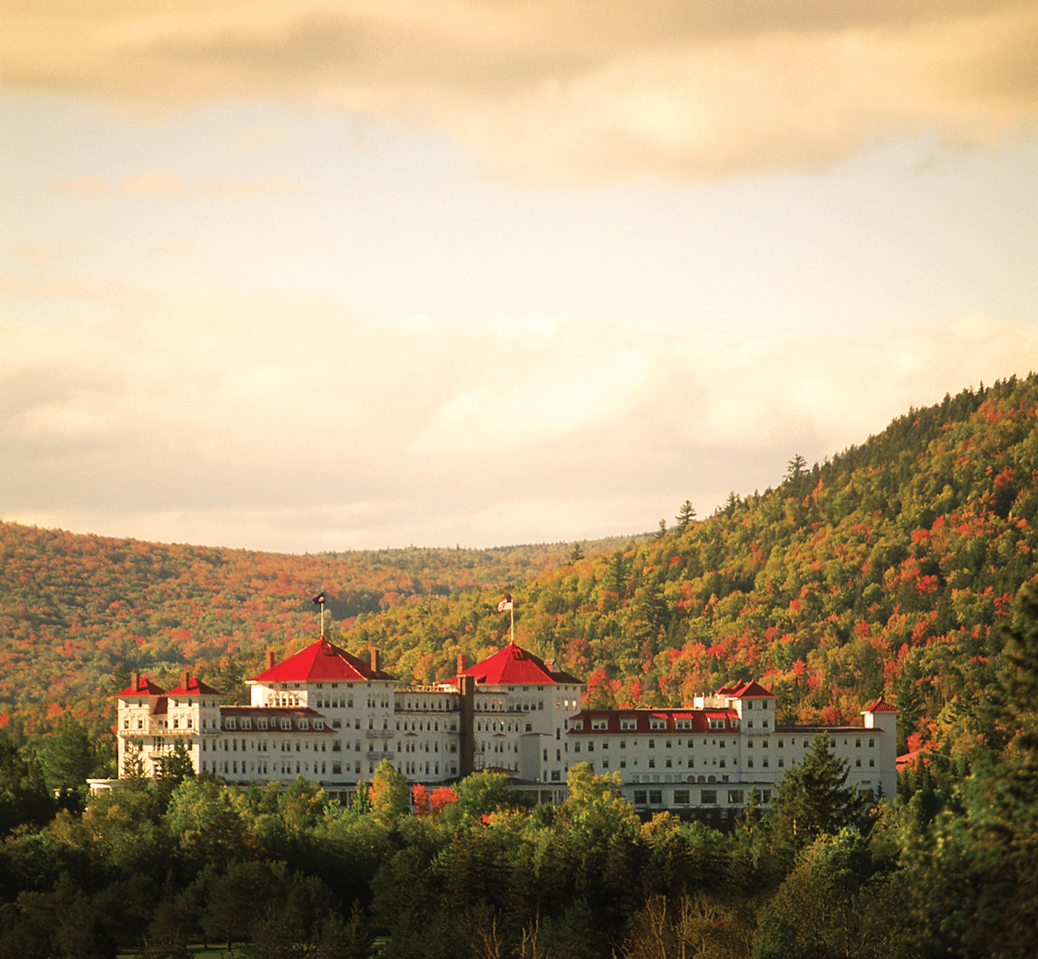 Fall foliage at Mount Washington resort in Bretton Woods, N.H.