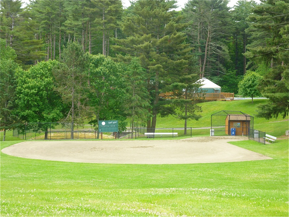 Baseball field at Normandy Farms Campground in Foborough, Mass.