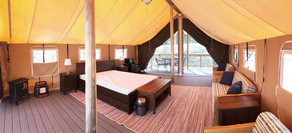 Elevated safari tent at Normandy Farms campground in Foxborough, Mass.