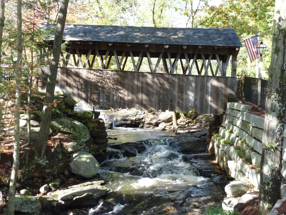 Covered footbridge at the Old Mill in Westminster MA