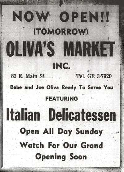 Oliva's Market grand opening ad in Milford, Mass.