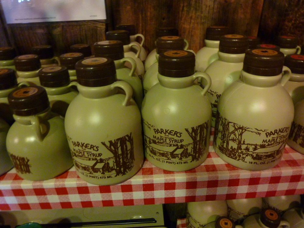 Local maple syrup at the Corn Crib Gift Shop at Parker's Maple Barn restaurant in Mason, N.H.