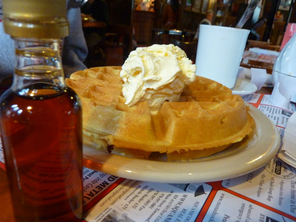 Is it breakfast or dessert? The waffle with ice cream and maple syrup from Parker's Maple Barn restaurant in Mason, N.H.