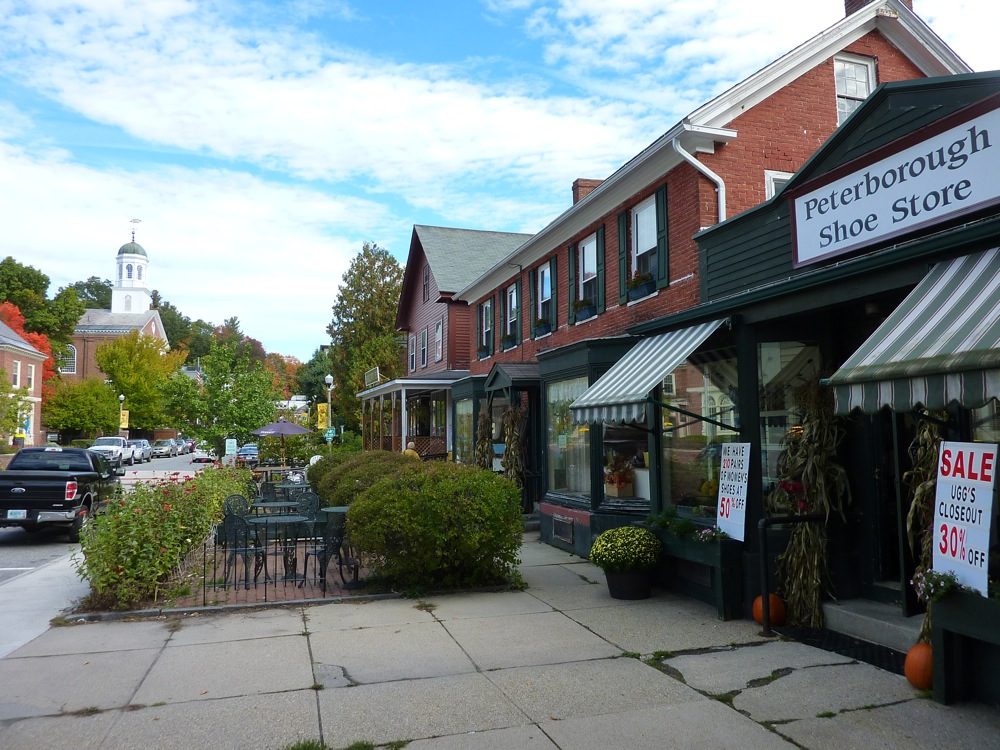 Peterborough NH has a great small town Main Street look and feel.