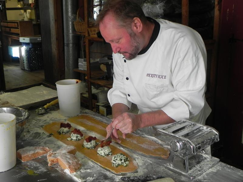 Keith Grimes creates in the kitchen at Pickity Place in Mason, N.H.