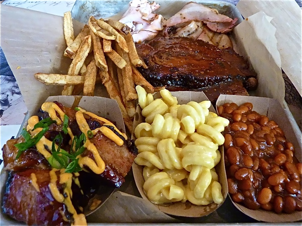 "Sample plate of smoked food from P.J.'s Smoke ""N"" Grill in Medway, MA."