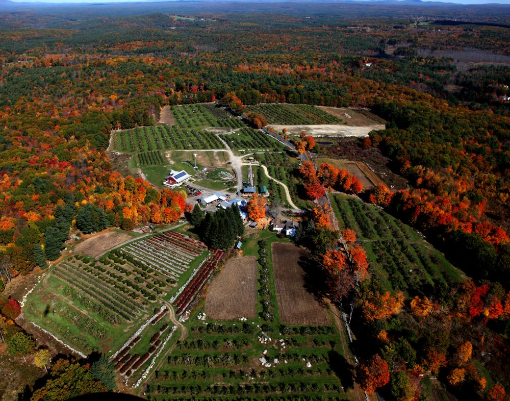 Aerial view of Red Apple Farm in Phiilipston, Mass.