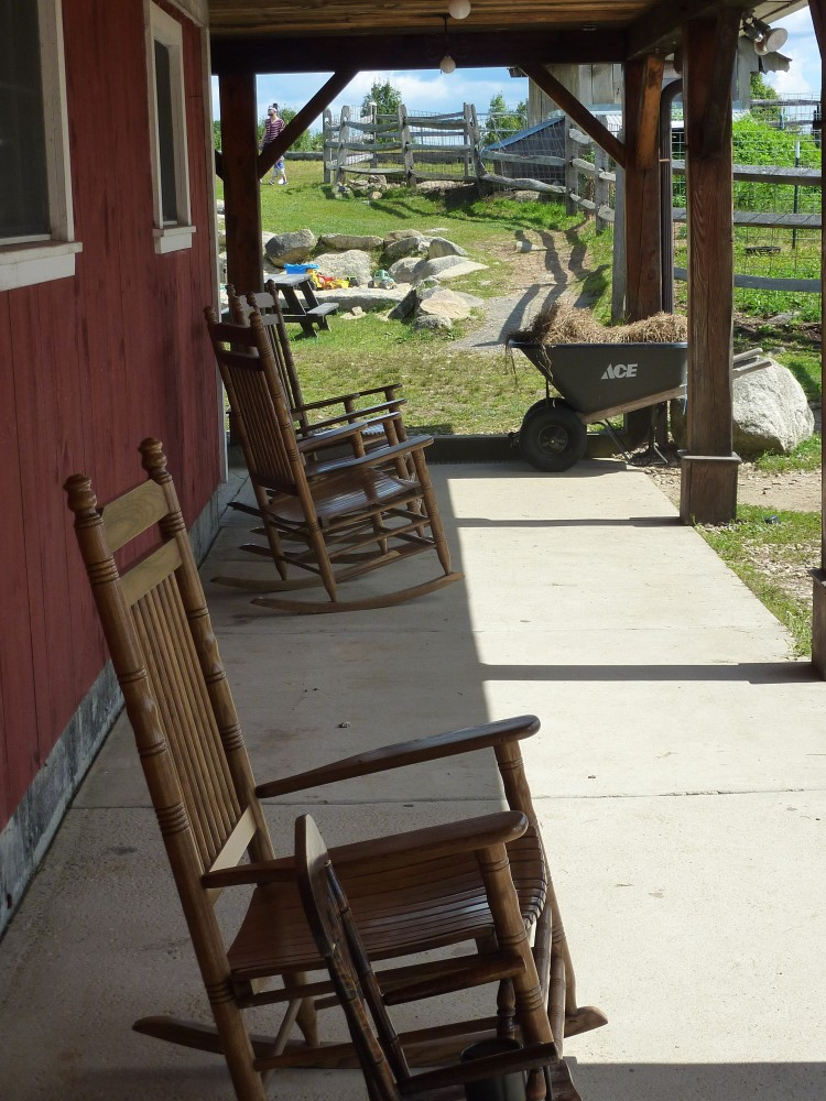 Front porch rocking chairs at Red Apple Farm in Phillipston, Mass.