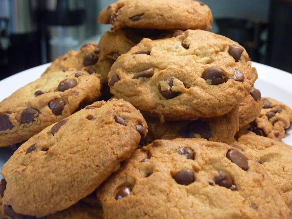 Fresh-out-of-the-oven chocolate chip cookies from Red Cherry Cafe in downtown Walpole, MA.