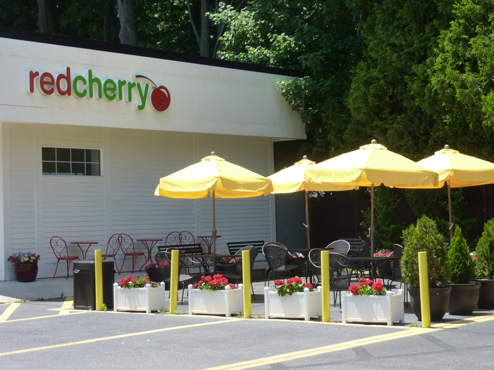 The outdoor patio at red Cherry Cafe, Walpole MA