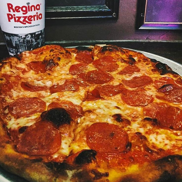 Pepperoni pizza from Regina Pizzeria in the North End of Boston