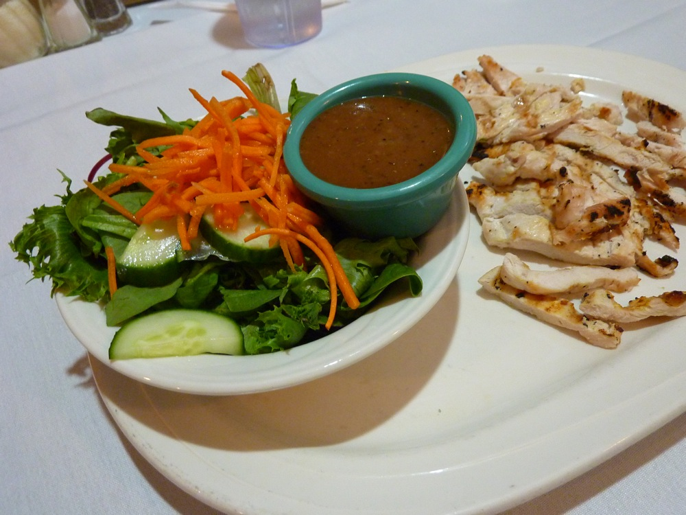Fresh salad and grilled chicken from Rosetta's in Canton, Massachusetts.