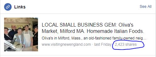 Social shares -VisitingNewEngland article on Oliva's in Milford, Mass.