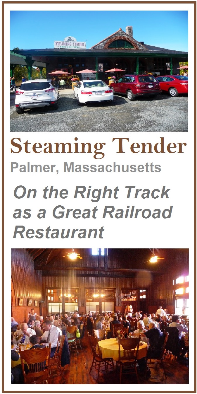Steaming Tender in Palmer, Massachusetts, features an authentic railroad station theme in an H.H. Richardson designed building. The food is phenomenal.