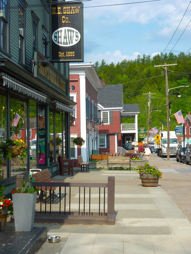 Main Street in Stiwe, Vermont.