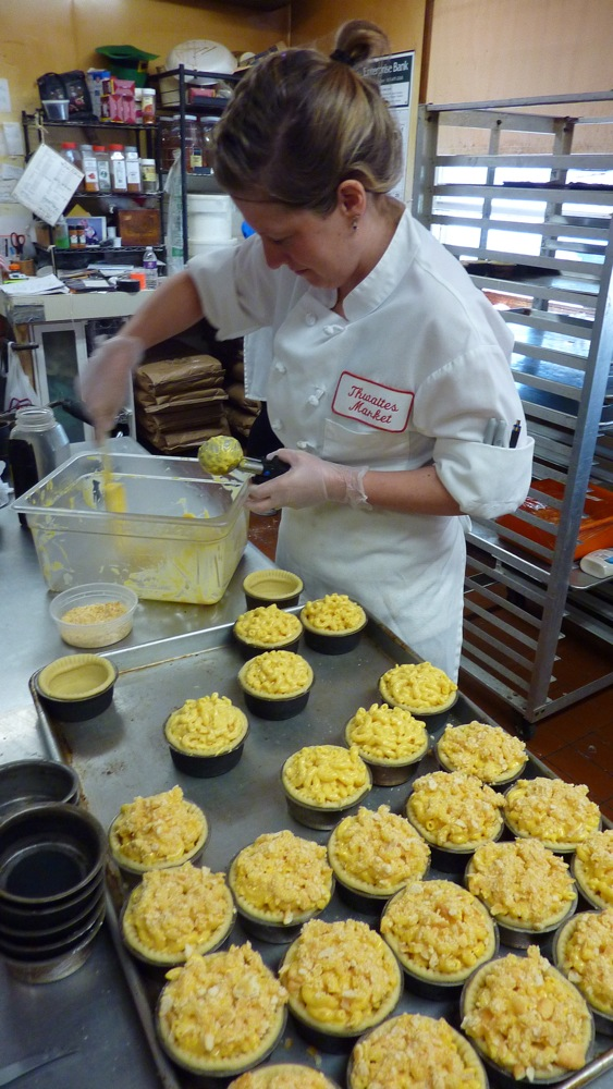 Abbey Hoffman makes mac and cheese pies at Thwaites Market in Methuen, Mass.