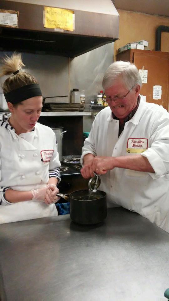 Ken Greenwood and daughter Abbey Hoffman makes mashed potatoes at Thwaites Market in Methuen, Mass.