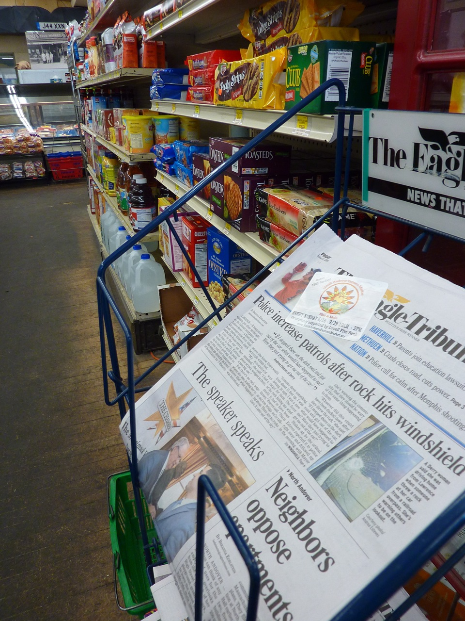 Newpapers at Thwaites Market in Methuen, Mass.