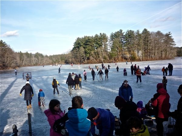 Skating at Turner Pond, Walpole MA