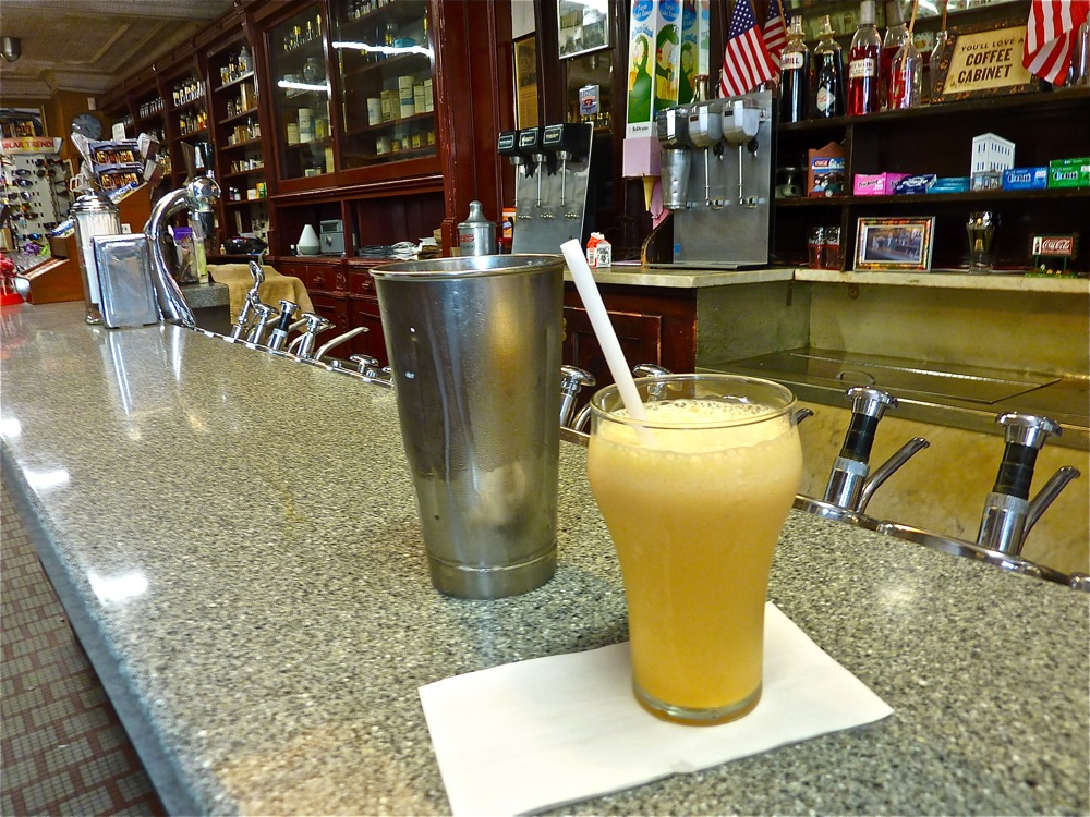 Creamsicle drink at the soda fountain in Delekta Pharmacy in Warren, Rhode Island
