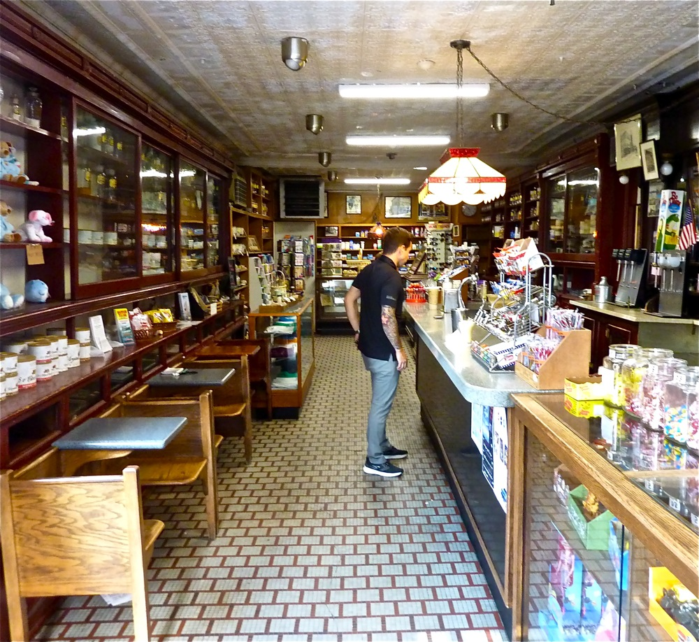 Old fashioned Delekta's Corner Store with soda fountain in Warren, R.I.