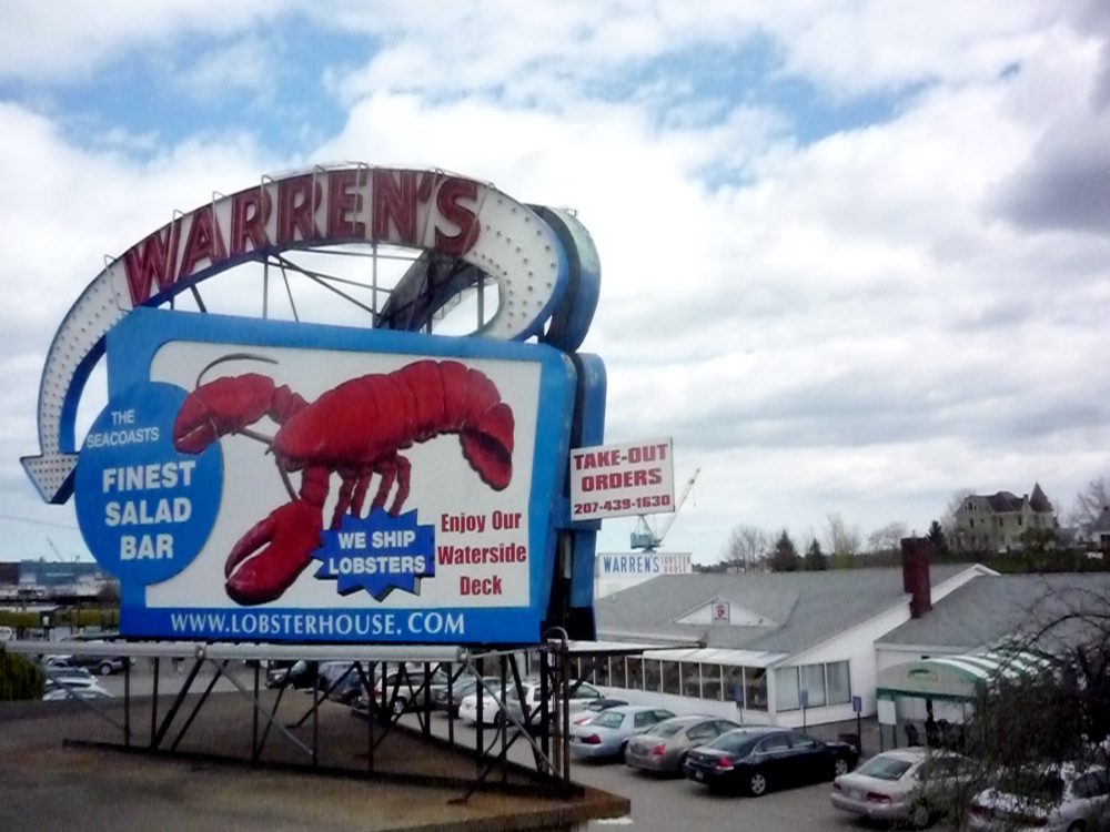 Warren's Lobster House in Kittery, Maine specializes in Maine lobster and a huge salad bar.