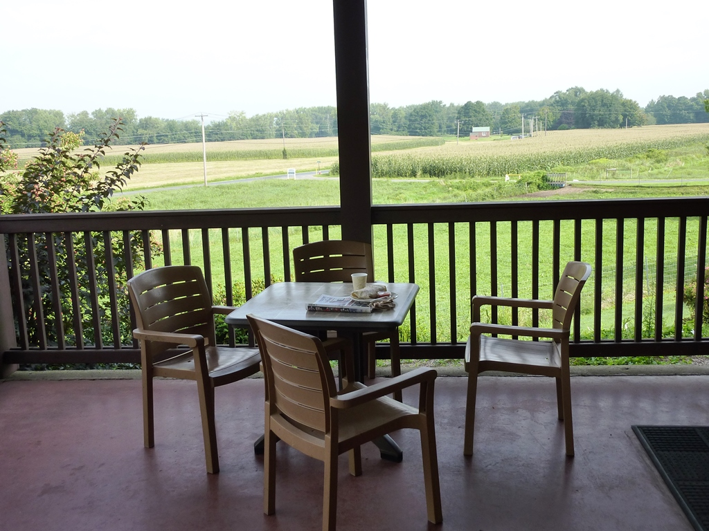 Outdoor dining area at Barstow's Dairy Store and Bakery in Hadley MA