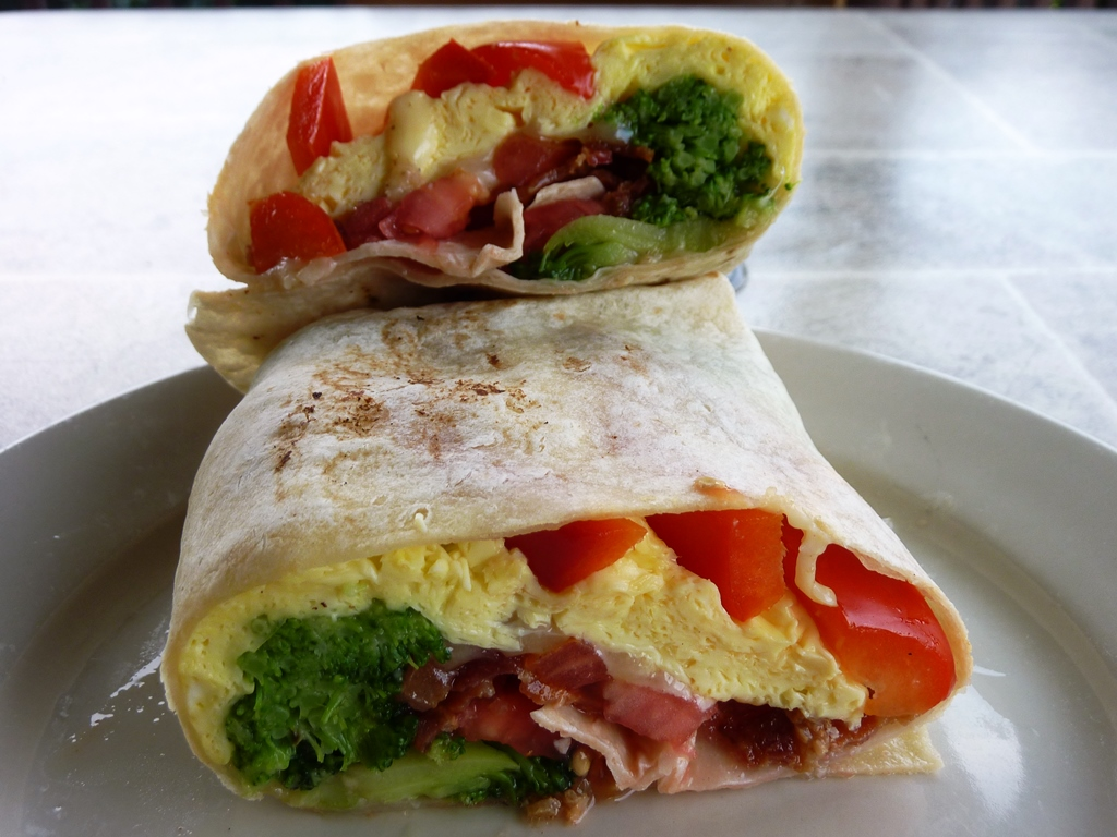 Egg and cheese burrito with broccoli, bacon and red peppers from Barstow's Dairy Store and Bakery in Hadley, Mass.