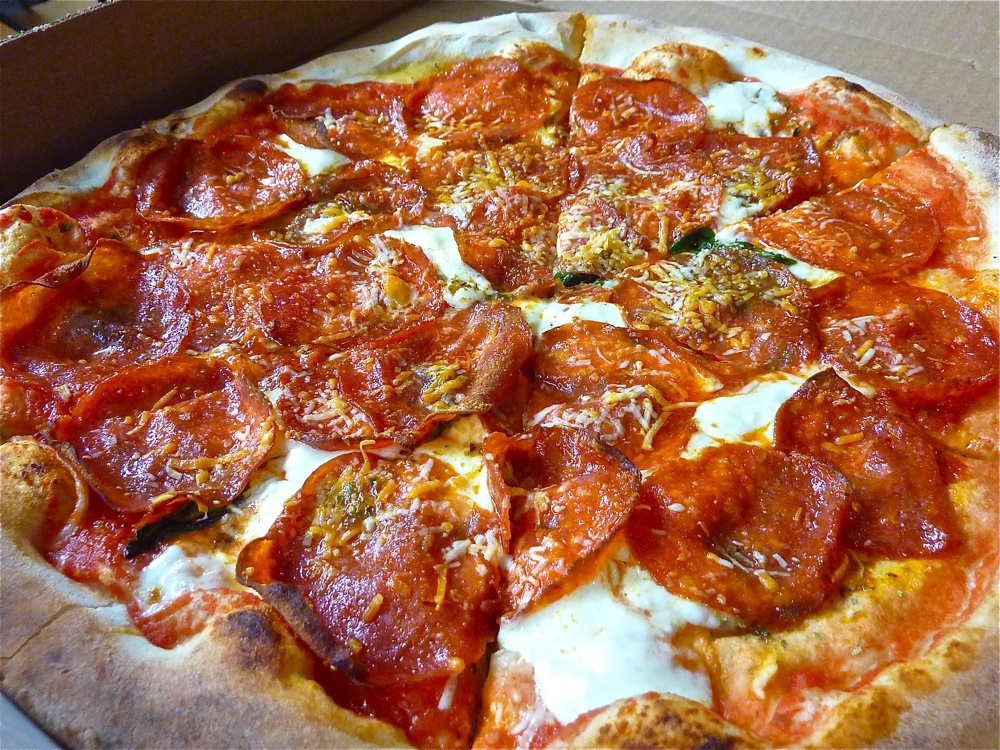 Pepperoni pizza from When Pigs Fly Pizzeria in Kittery, Maine