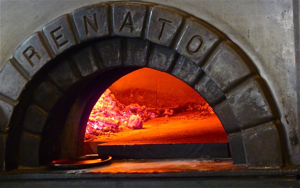Wood-fired oven at When Pigs Fly Pizzeria in Kittery, Maine