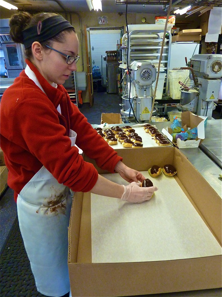 Robyn Prendergast works the production room at The Topsfield Bakeshop in Topsfield, Mass.