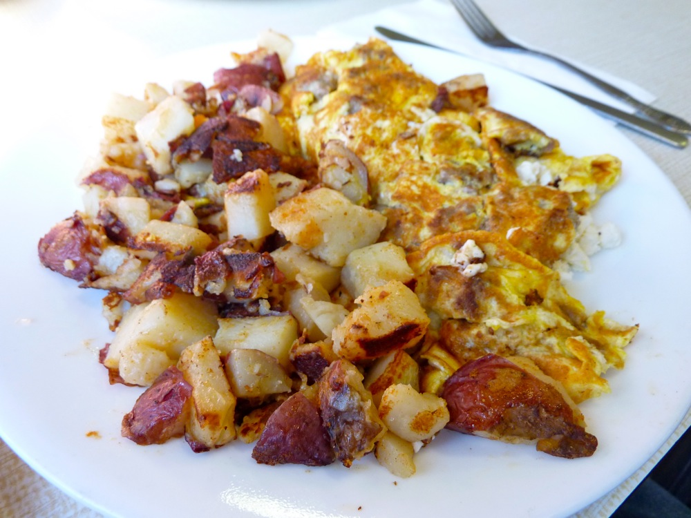 Gyros and feta omelet from Wilson's Diner in Waltham, Massachusetts