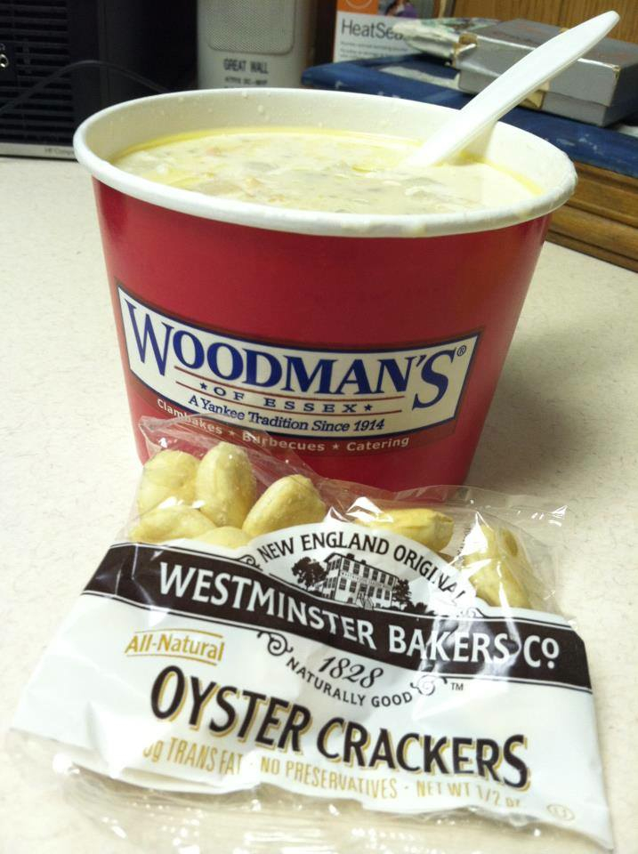 New England clam chowder from Woodman's of Essex seafood shack in Essex, Massachusetts