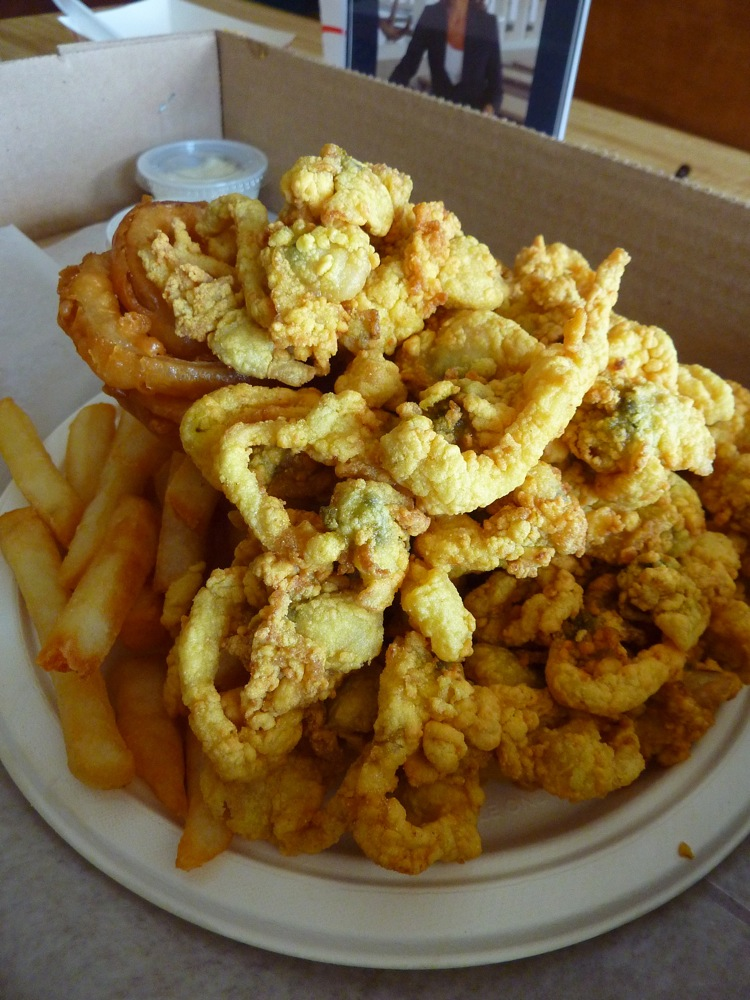 Legendary fried clam plate from Woodman's of Essex in Essex, Massachusetts