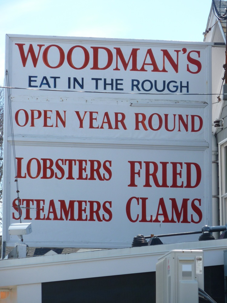 Famous sign at Woodman's of Essex seafood shack in Essex, Massachusetts.