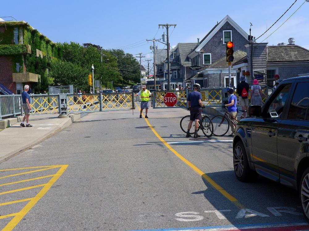 Traffic jam in Woods Hole, Massachusetts due to drawbridge rising.