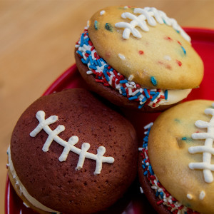 New England Patriots whoopi pie from The Whoo(pie) Wagon in Topssfield, Mass.