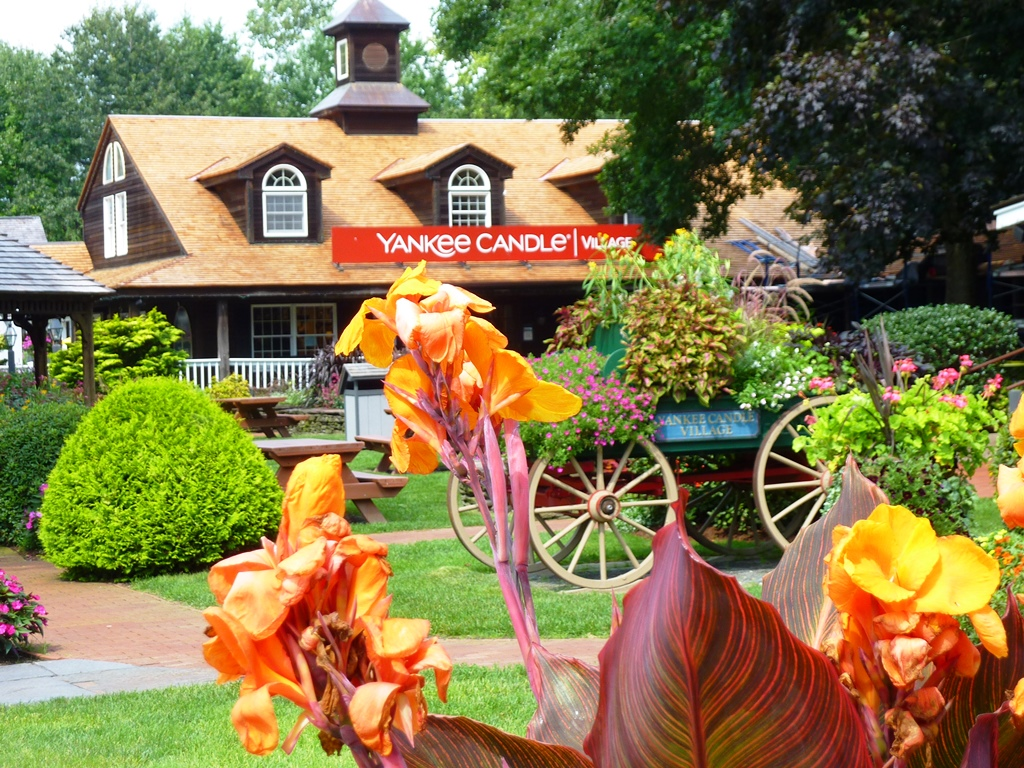 Beautiful landscaping at Yankee Candle Village flagship store in South Deerfield, Massachusetts